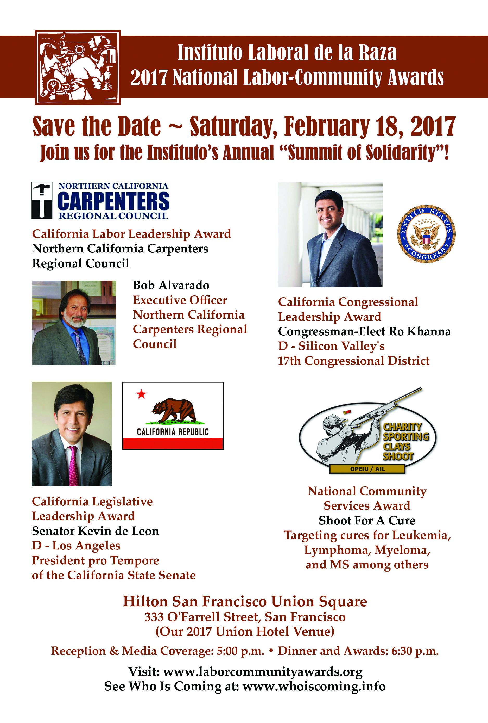2017 national labor-community awards